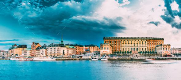 Stockholm, Sweden, Embankment In Old Part Of Stockholm At Summer - Stock Photo - Images