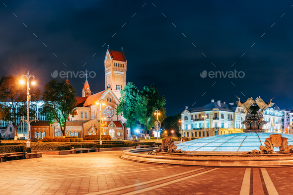 Minsk, Belarus. Night View Church Of Saints Simon And Helen Or R - Stock Photo - Images