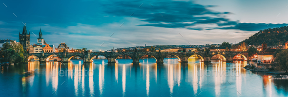 Prague, Czech Republic. Evening Panoramic View Of Evening Citysc - Stock Photo - Images