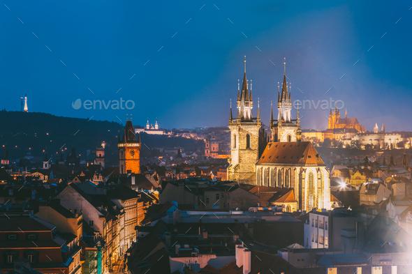 Prague, Czech Republic. Evening Cityscape Of Old Center. Famous - Stock Photo - Images
