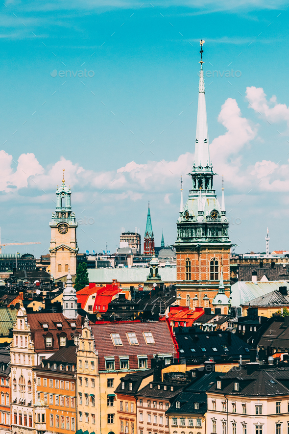 Stockholm, Sweden. Historical Center With Tall Steeple Of The Ge - Stock Photo - Images