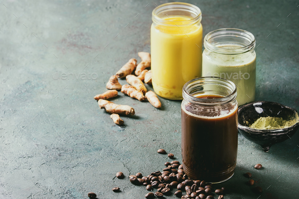 Variety of iced latte drinks. - Stock Photo - Images