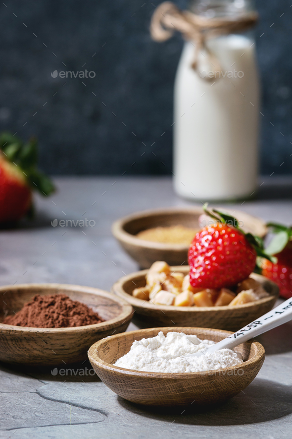 Ingredients for cooking mug cake - Stock Photo - Images