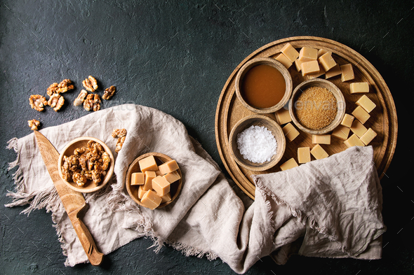 Salted caramel fudge - Stock Photo - Images