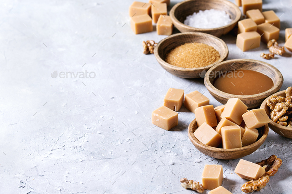 Salted caramel fudge - Stock Photo - Images