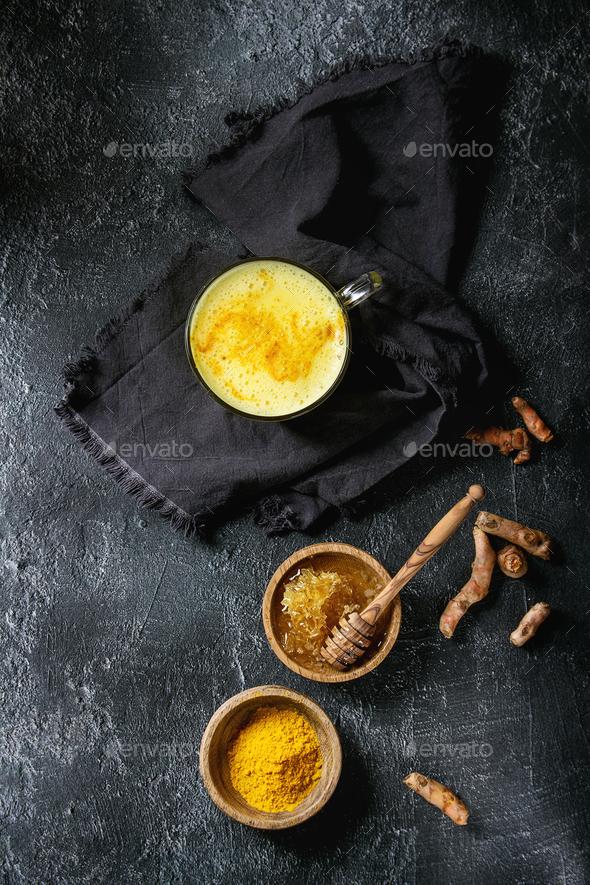 Turmeric golden milk latte - Stock Photo - Images