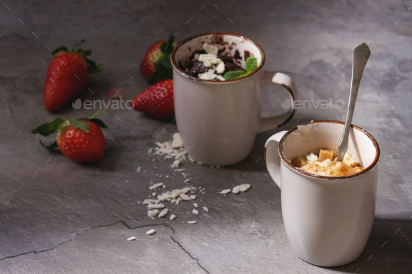 Chocolate and vanilla mug cakes - Stock Photo - Images