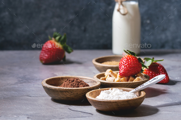 Ingredients for cooking mug cake - Stock Photo - Images