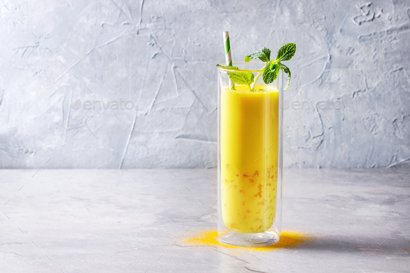Turmeric golden milk iced latte - Stock Photo - Images