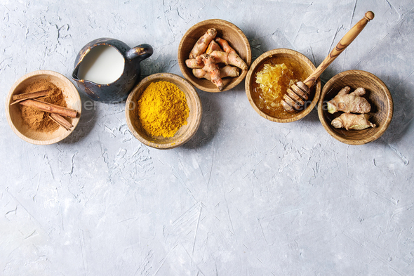 Ingredients for turmeric latte - Stock Photo - Images