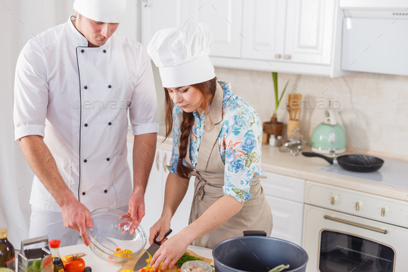 Two chefs are working together - Stock Photo - Images