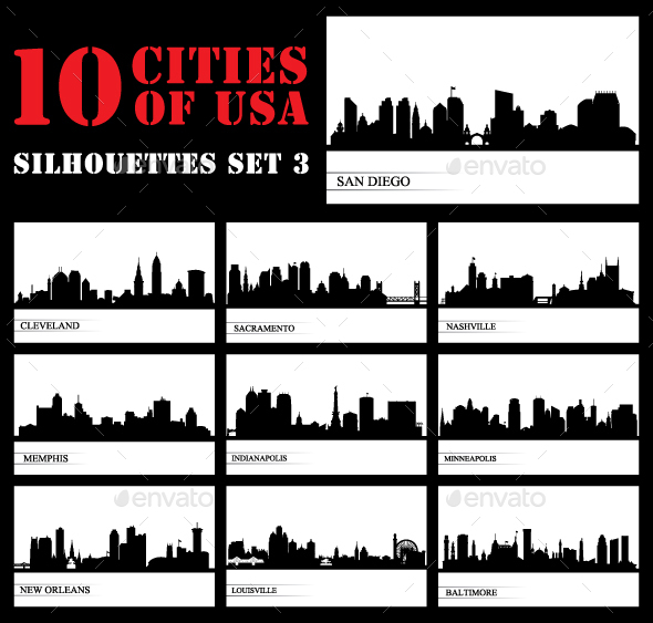 Set of 10 Silhouettes USA Cities - Buildings Objects