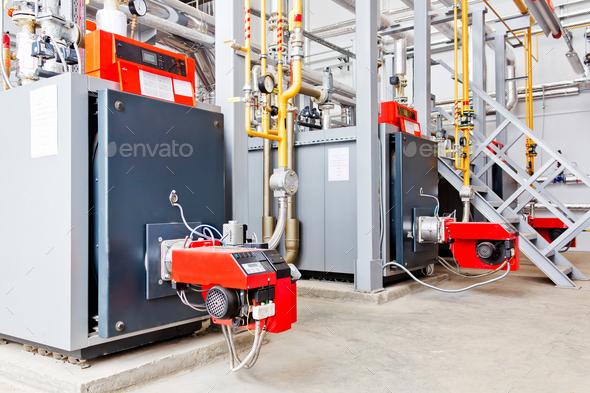 Industry boiler gas burner - Stock Photo - Images