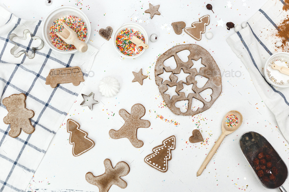 Set of ginger various shapes cookies and confectionery stuff on the table. Top view. - Stock Photo - Images