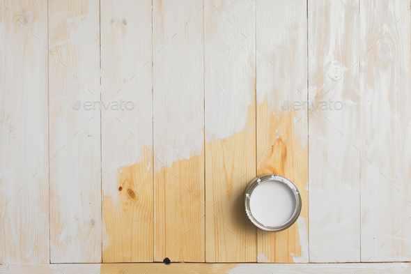 open cans of paint on a wooden background. - Stock Photo - Images