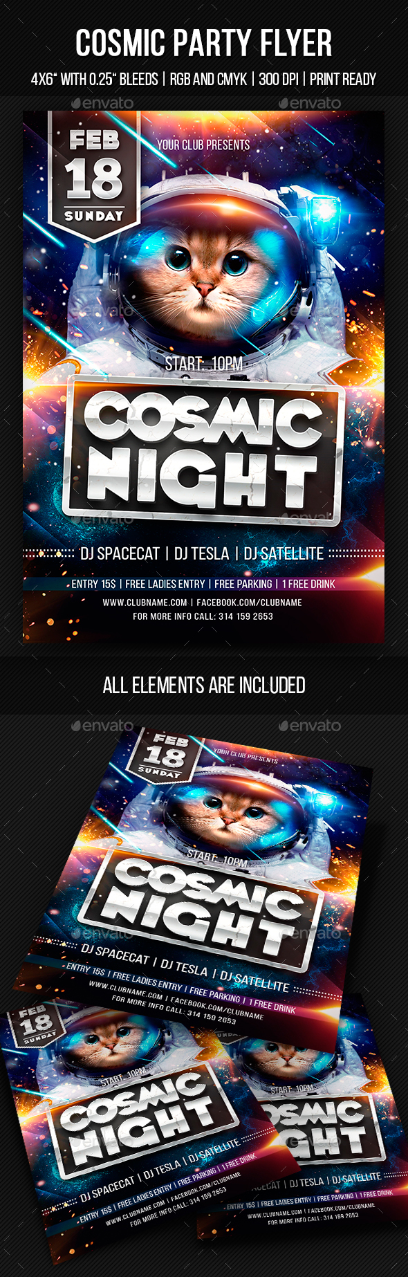 Cosmic Party Flyer - Clubs & Parties Events