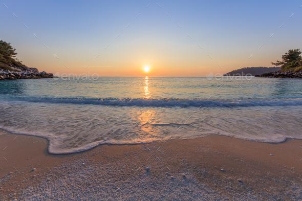 Marble beach (Saliara beach), Thassos Islands, Greece - Stock Photo - Images