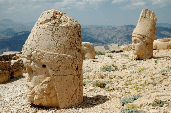 Stone head at Mount Nemrut, southeast of Turkey - Stock Photo - Images