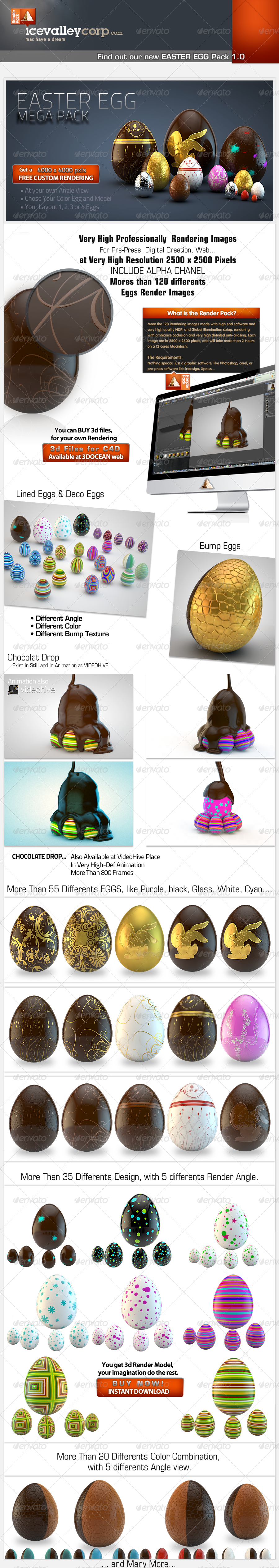 Easter Eggs Pack 001 3d Realistic - Objects 3D Renders