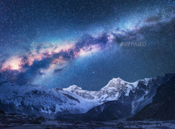 Space. Night landscapw with Milky Way and mountains - Stock Photo - Images