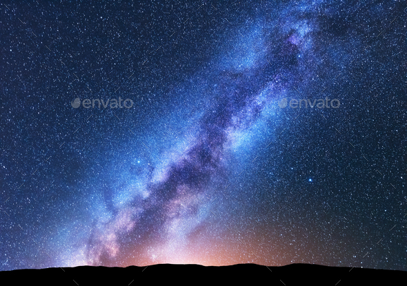 Space background with amazing Milky Way and stars - Stock Photo - Images