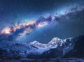 Space. Night landscapw with Milky Way and mountains - PhotoDune Item for Sale