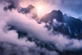 Mountains in clouds in overcast colorful evening - PhotoDune Item for Sale