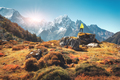 Man on the stone and mountains at sunset in Nepal - PhotoDune Item for Sale