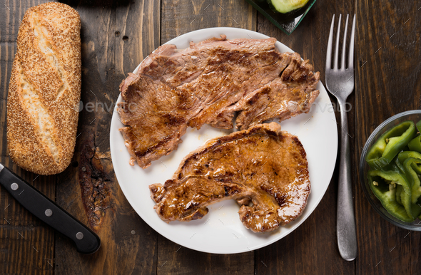 grilled beef steaks made at home - Stock Photo - Images