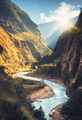 Colorful landscape with mountains, river at sunset - PhotoDune Item for Sale
