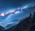 Space with Milky Way, girl and mountains at night - PhotoDune Item for Sale