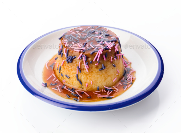 homemade egg flan decorated with colors - Stock Photo - Images