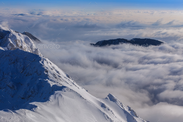 mountain landscape in winter - Stock Photo - Images