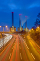 Highway and power station at night - PhotoDune Item for Sale