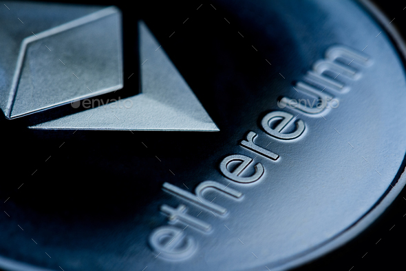 close up of on a blue coin ethereum logo - Stock Photo - Images