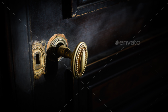 detail of antique golden door handle knob - Stock Photo - Images