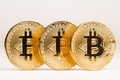 closeup of golden bitcoin metallic coins - PhotoDune Item for Sale