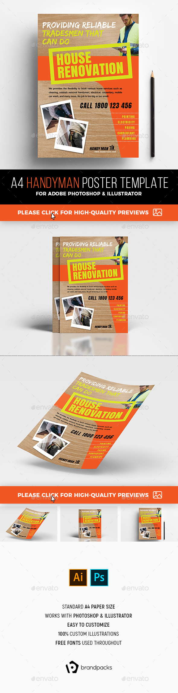 A4 Handyman Poster Template - Commerce Flyers