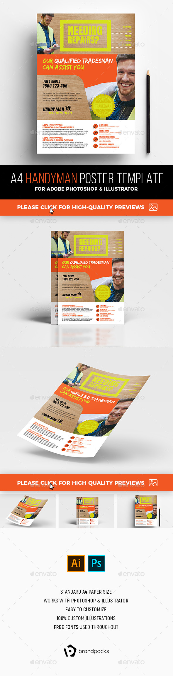 A4 Handyman Advertisement Template - Commerce Flyers