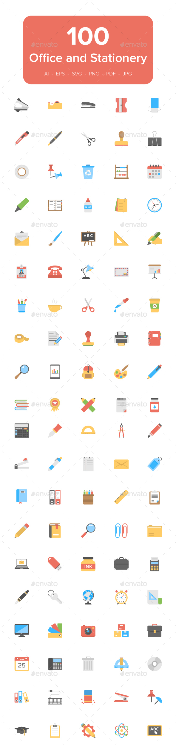 100 Office and Stationery Flat Icons - Icons