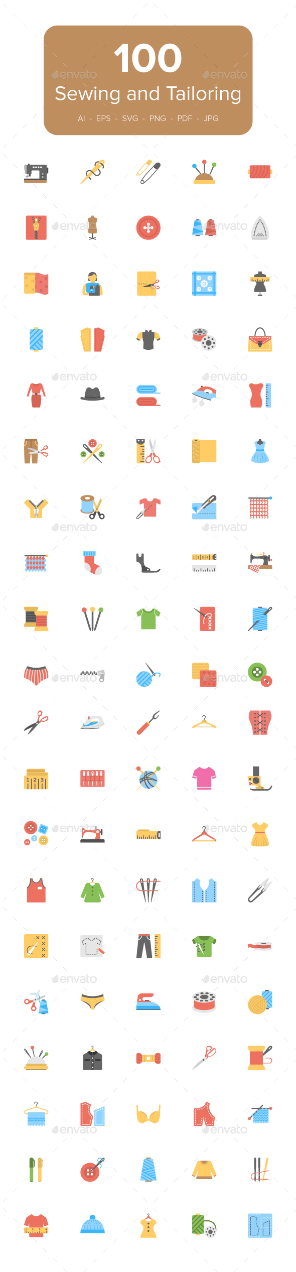Flat Sewing And Tailoring Tool Icons - Icons