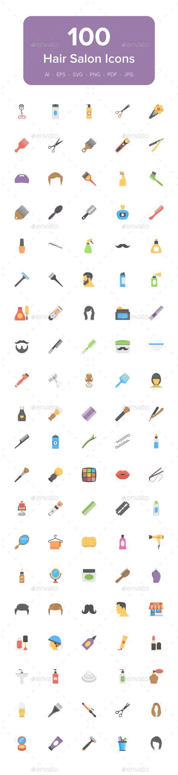 100 Hair Salon Flat Vector Icons - Icons