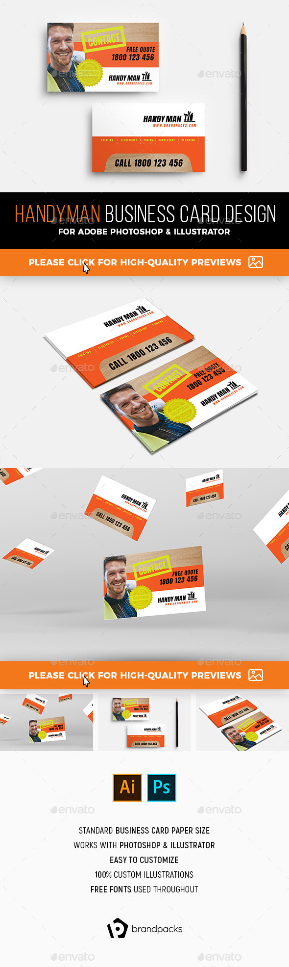 Handyman Business Card Template By BrandPacks GraphicRiver - Handyman business card template
