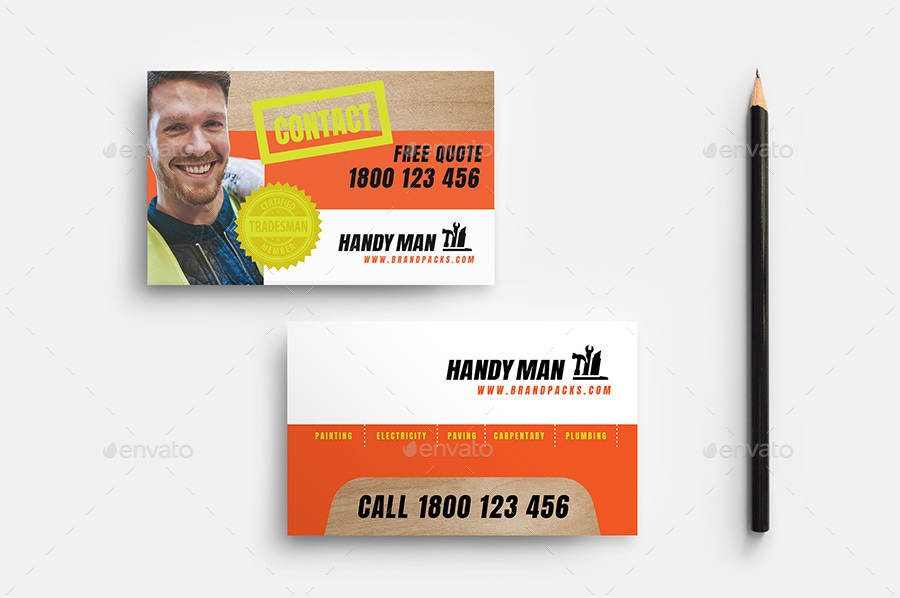 Handyman Business Card Template by BrandPacks | GraphicRiver