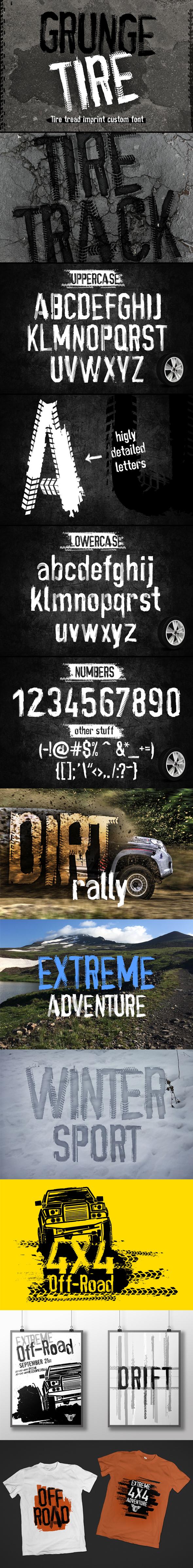 Grunge Tire Font - Grunge Decorative