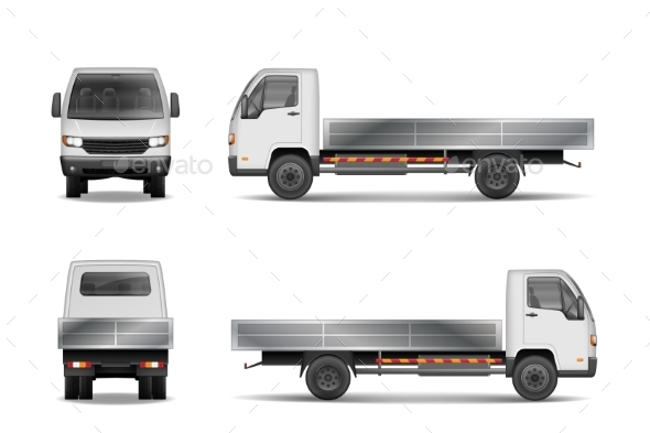 White Realistic Delivery Cargo Truck Isolated on - Man-made Objects Objects