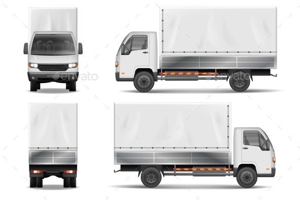 Semi Truck Isolated on White. Commercial Realistic - Man-made Objects Objects