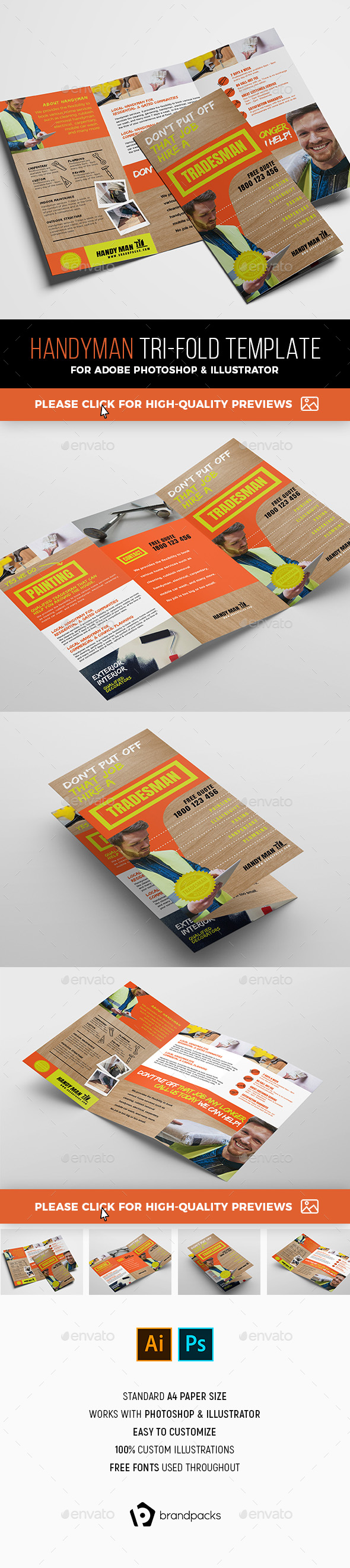 Handyman Trifold Brochure Template - Commerce Flyers