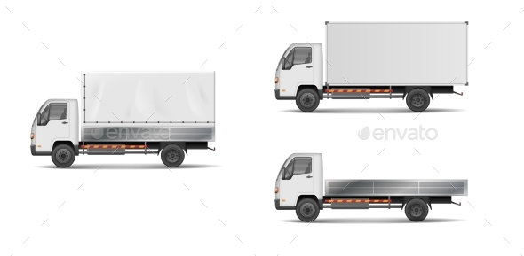 Set of Realistic White Cargo Vehicles.  - Man-made Objects Objects