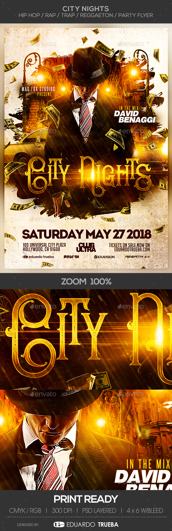 City Nights - Hip Hop / Rap / Trap / Reggaeton Party Flyer - Events Flyers